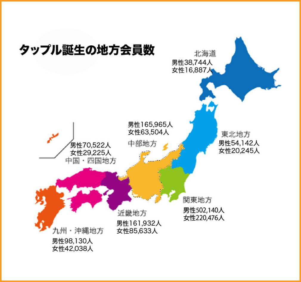 マッチングアプリ会員数【第二位】タップル誕生の地域会員数