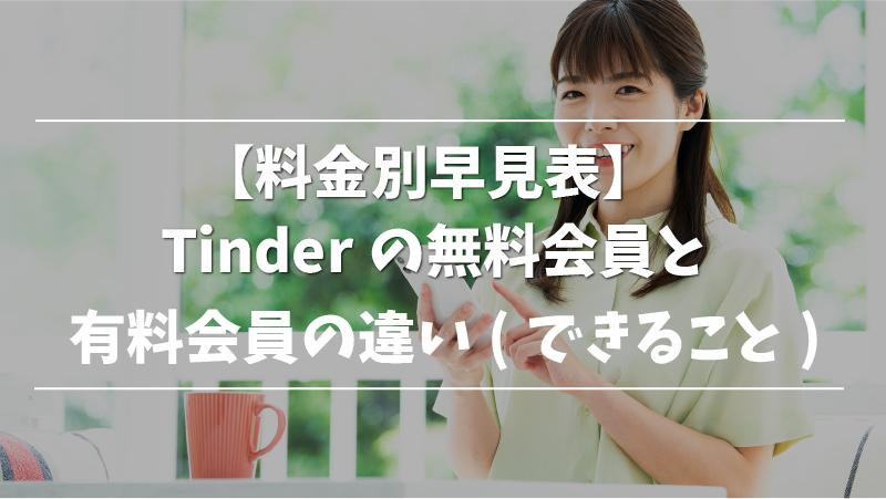 【料金別早見表】Tinderの無料会員と有料会員の違い(できること)